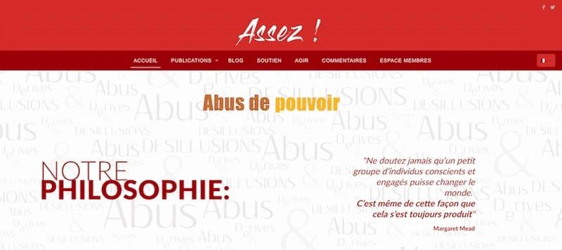 Enough Association Site Internet Page d'accueil