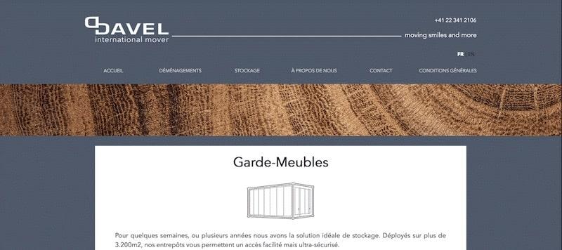 Davel Site internet Page garde meuble