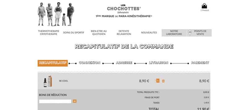 Les Chochottes site internet page commandes