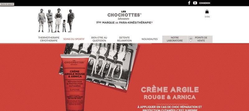 Les Chochottes site internet page d'accueil