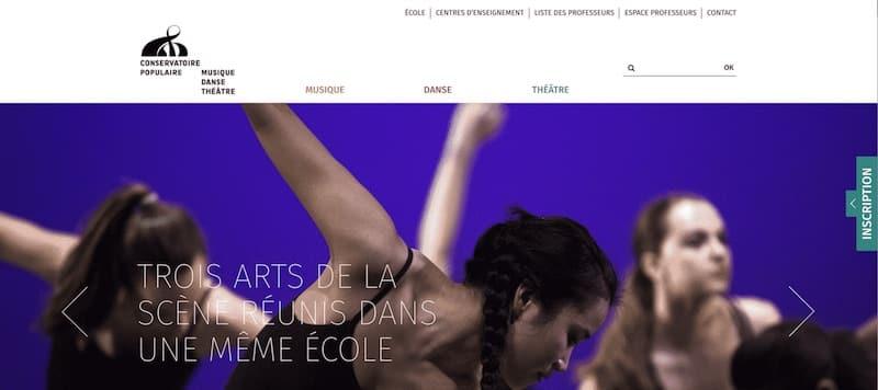 Conservatoire Populaire de Musique, Danse et de Theatre Site internet page d'accueil