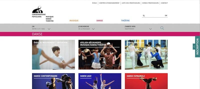 Conservatoire Populaire de Musique, Danse et de Theatre Site internet page Danse