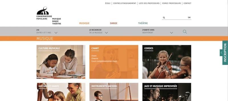 Conservatoire Populaire de Musique, Danse et de Theatre Site internet page Musique
