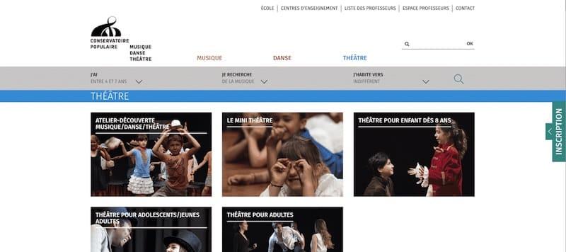 Conservatoire Populaire de Musique, Danse et de Theatre Site internet page Theatre