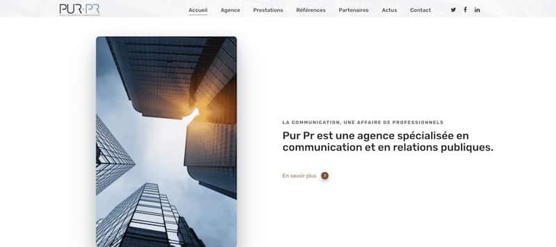 Pur PR Site internet page d'accueil