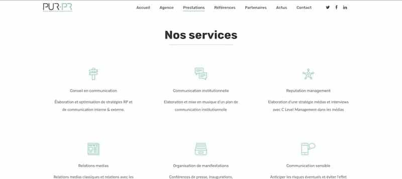 Pur PR Site internet page nos services