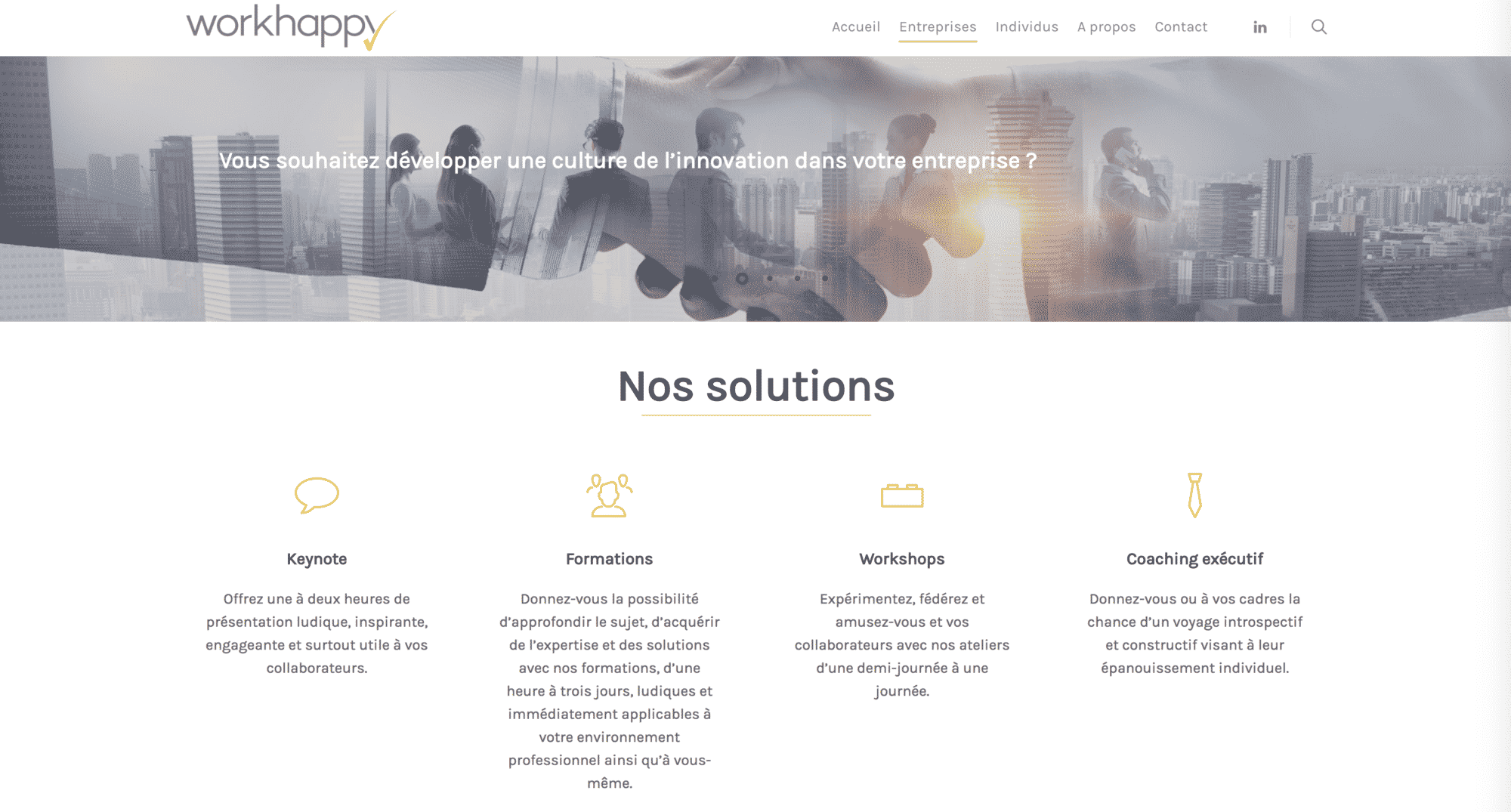 page entreprise workhappy