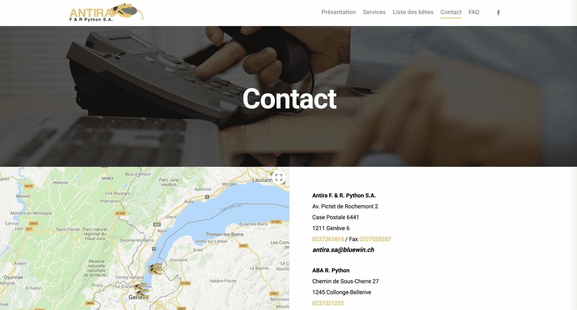page contact antira