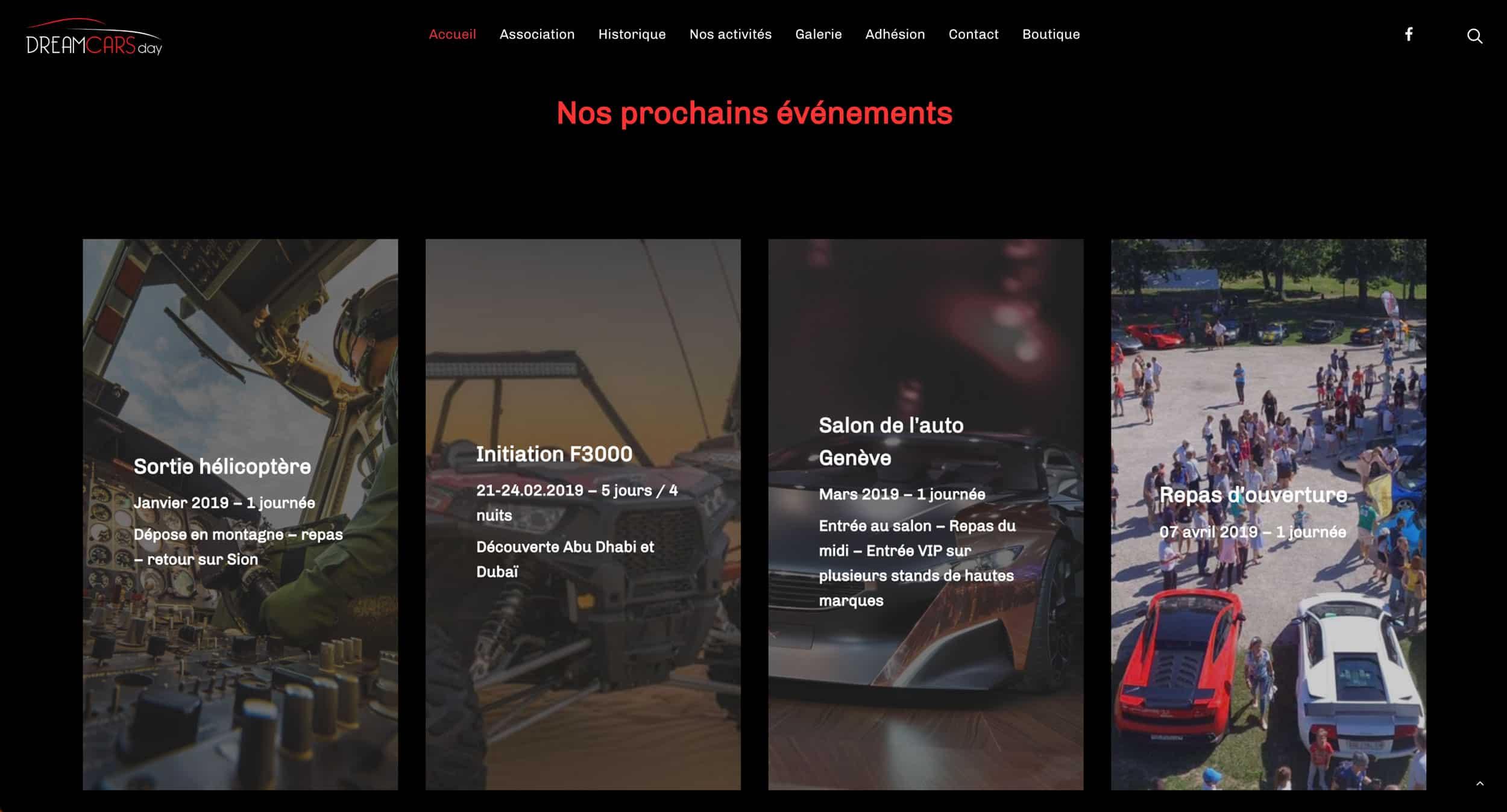 page évènement dreamcars