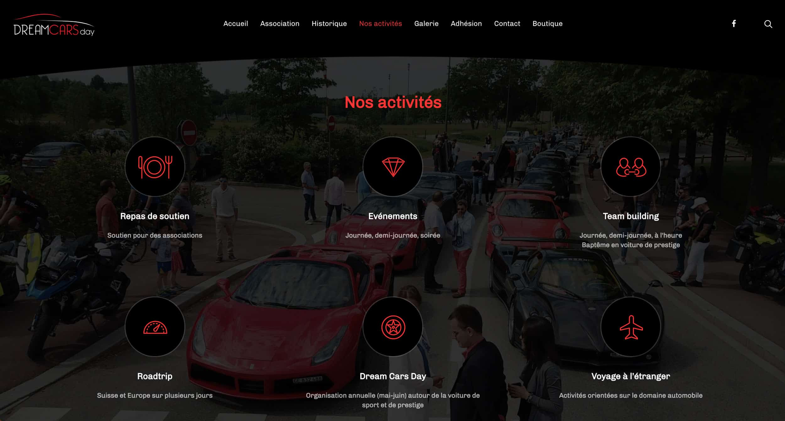 page activités dreamcars