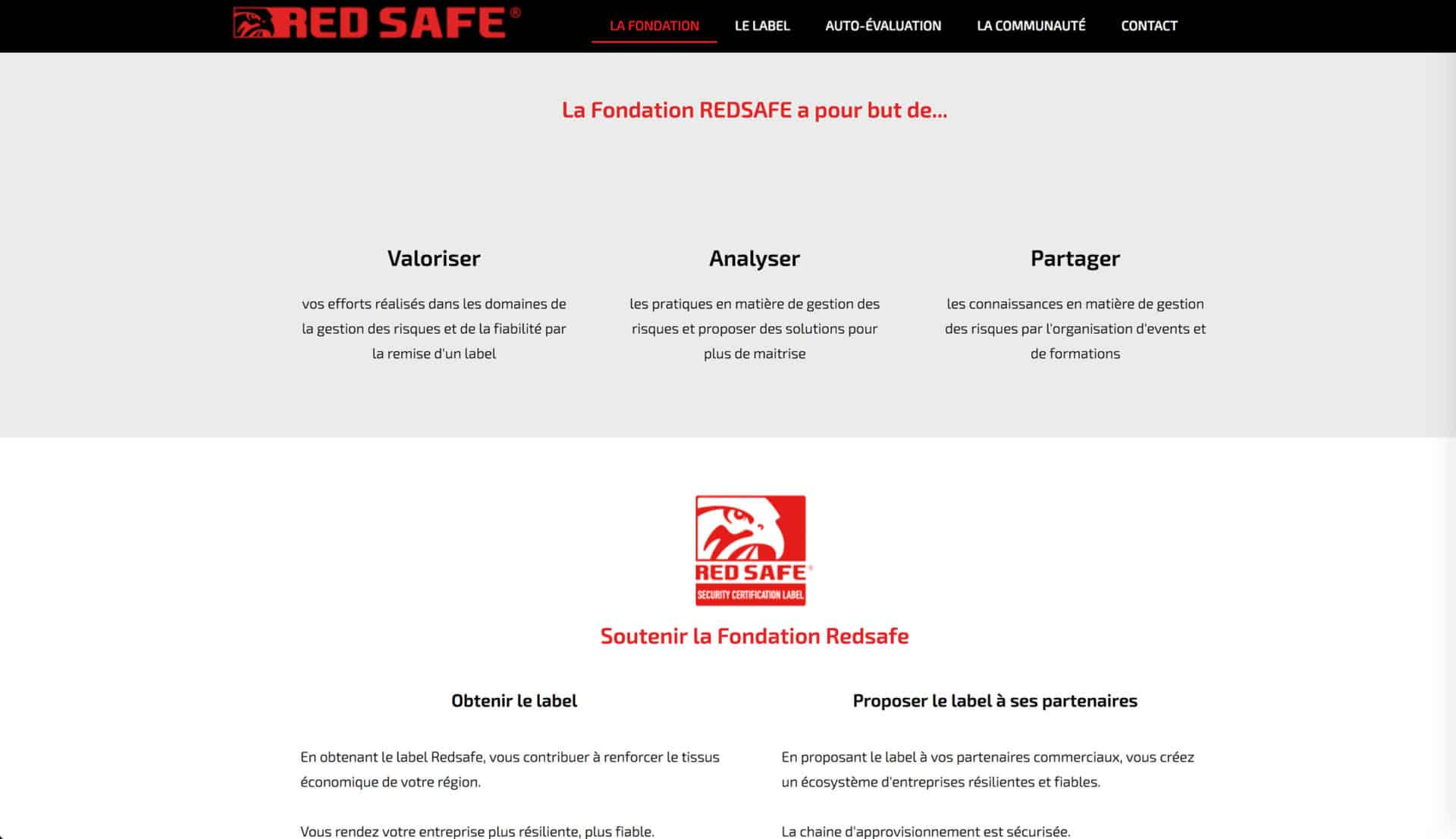 page fondation red safe