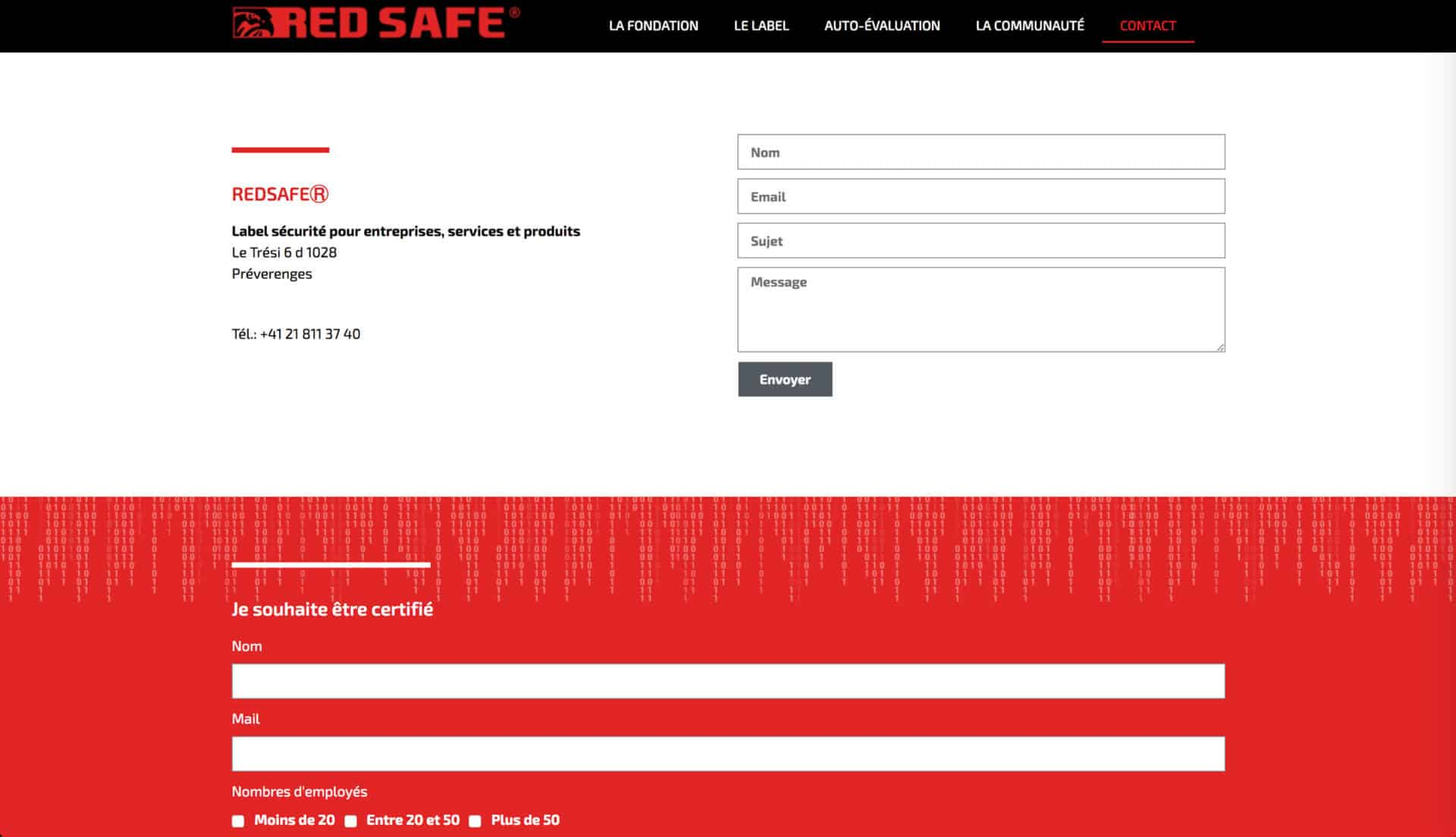 contact page red safe