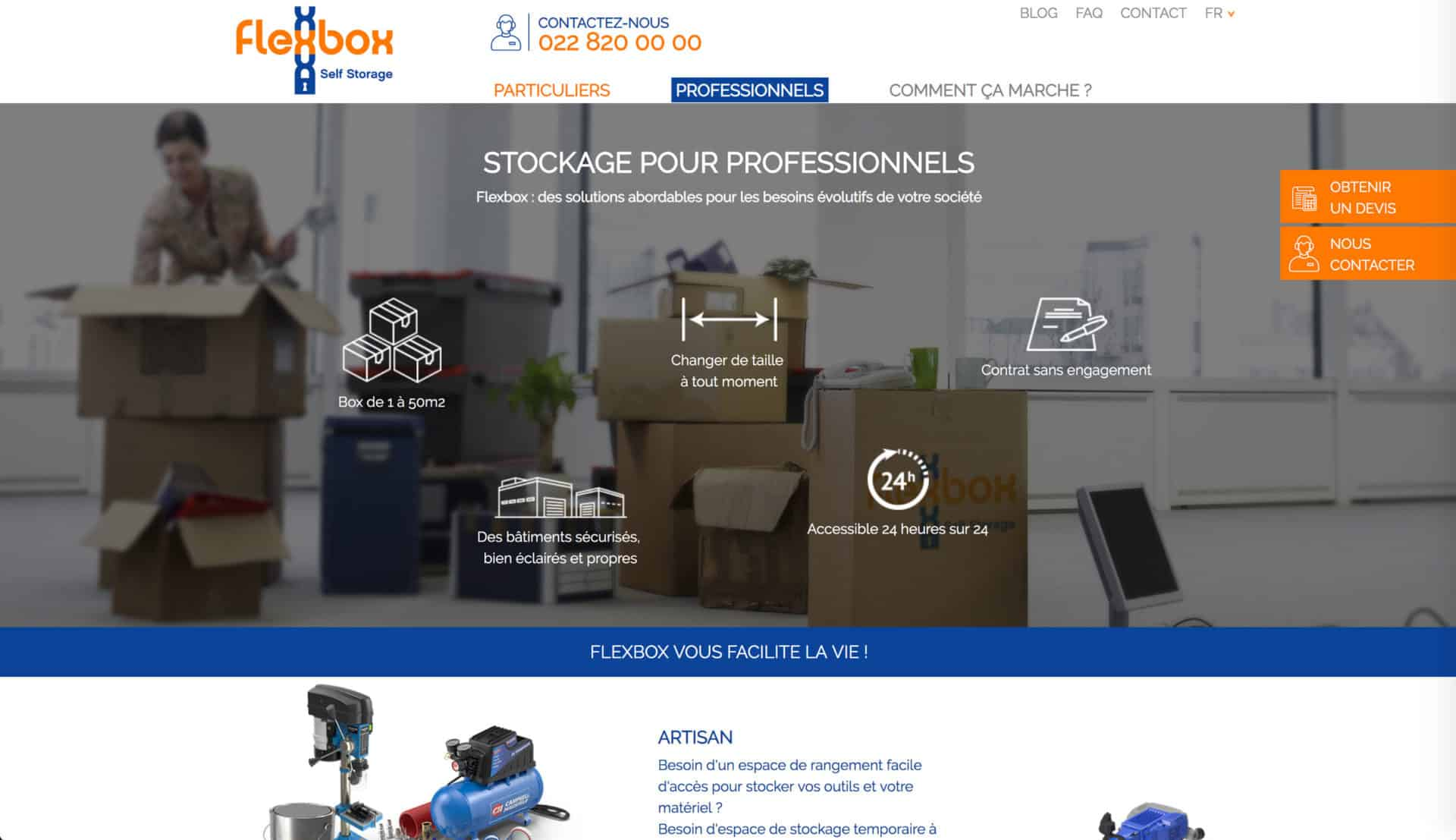 accueil professionnels flexbox