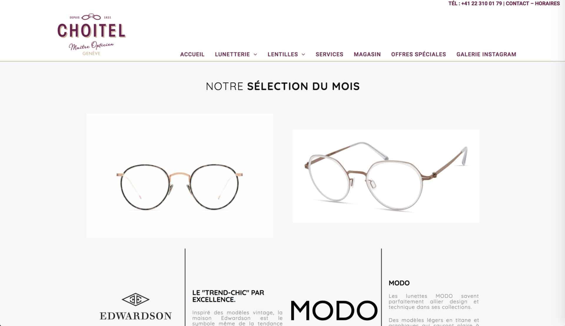 Site Web pour Opticien Choitel