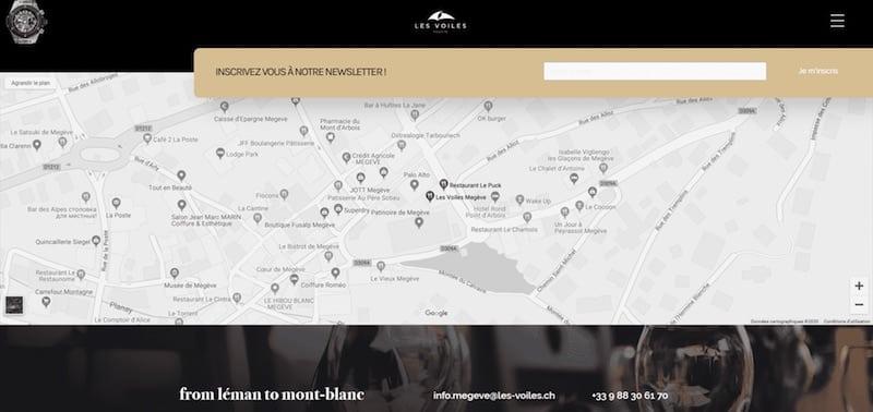 Les Voiles Megève location map