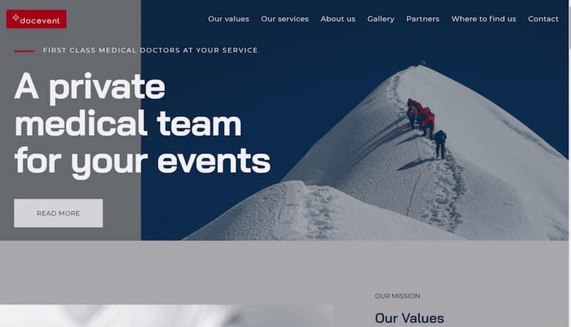 Docevent accueil site internet vitrine