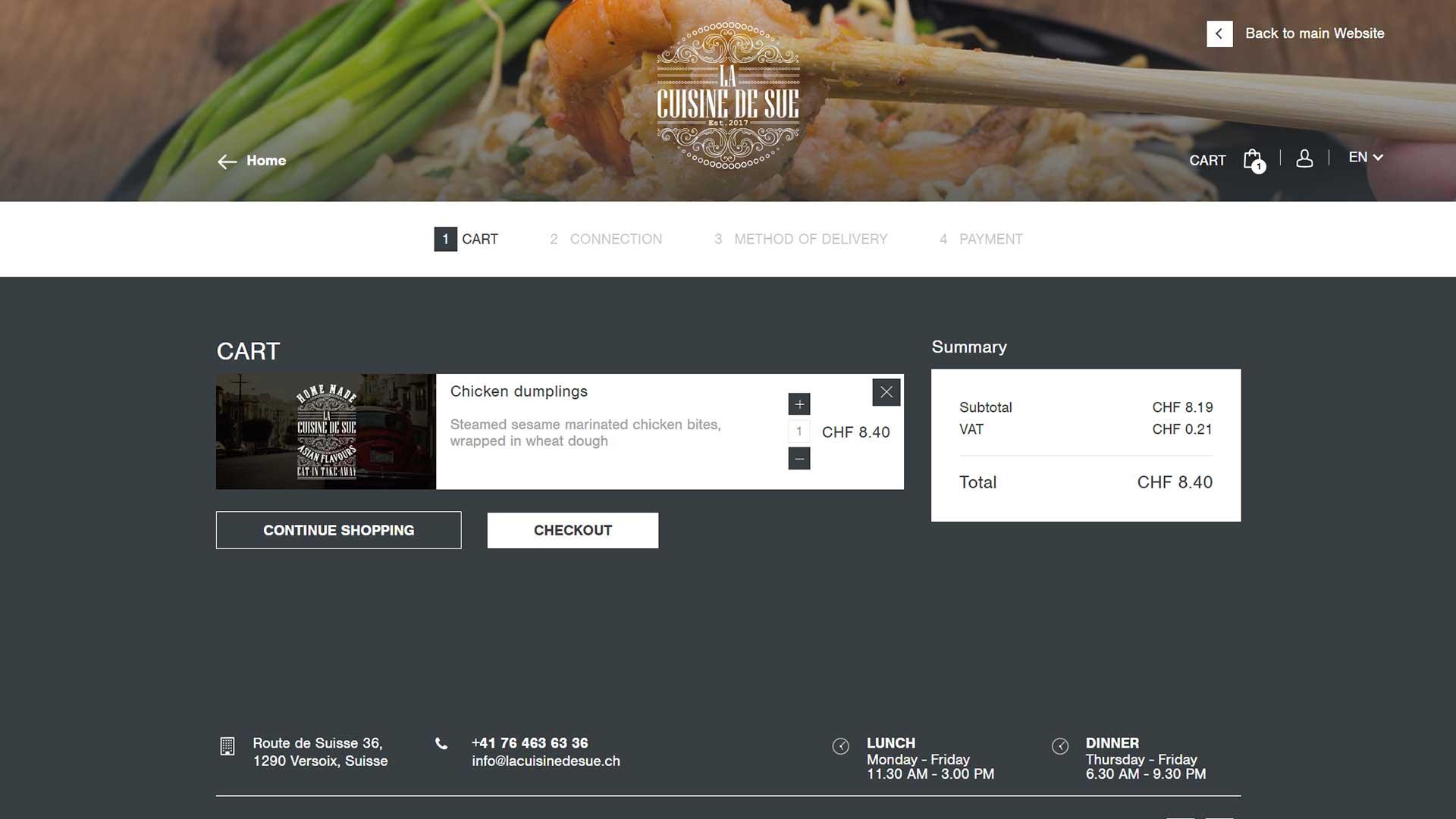 La Cuisine de Sue e-commerce restauration réservation