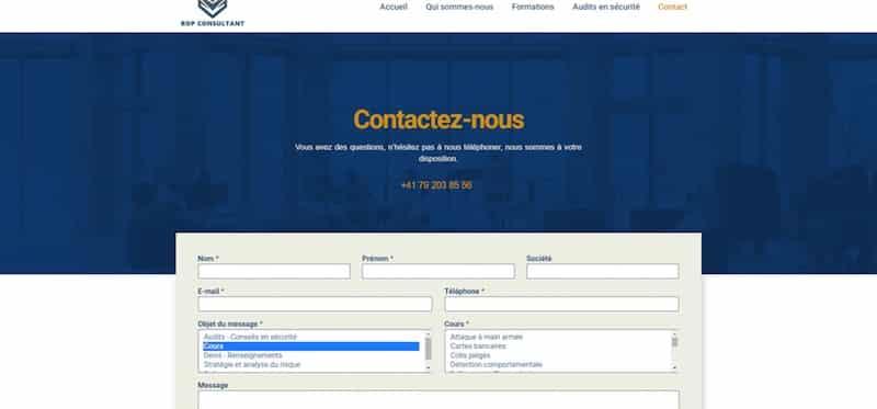 ROP Page contacte Site internet