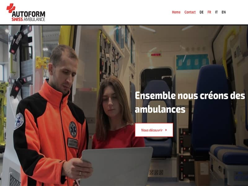 Autoform Swiss Ambulance Ensemble création ambulance Site Vitrine