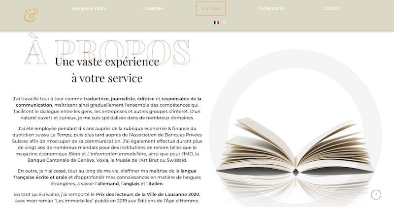 Bogadi page a propos expérience à votre service site vitrine