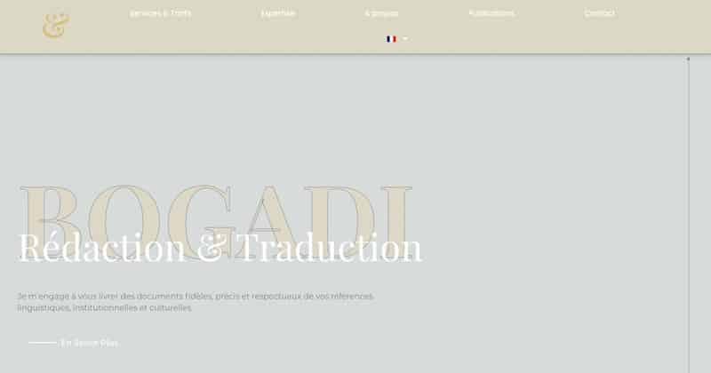 Bogadi page d'accueil rédaction et traduction site vitrine