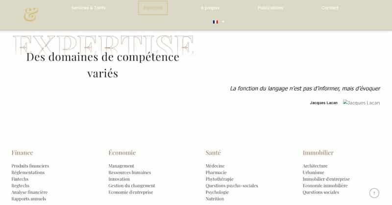 Bogadi page expertise domaine de compétence variés site vitrine