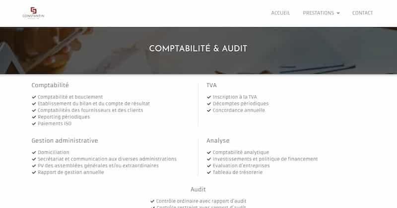 Constantin page comptabilité et audit informations site vitrine