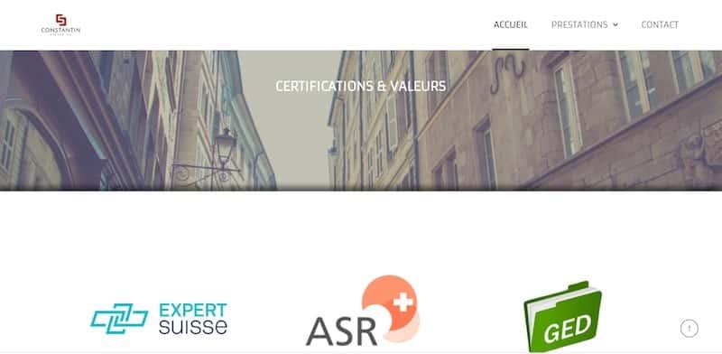 Constantin certifications et valeurs site vitrine