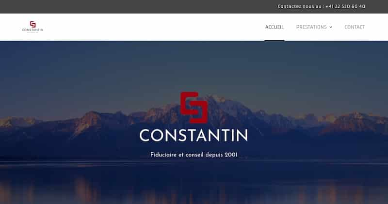 Constantin page d'accueil site vitrine