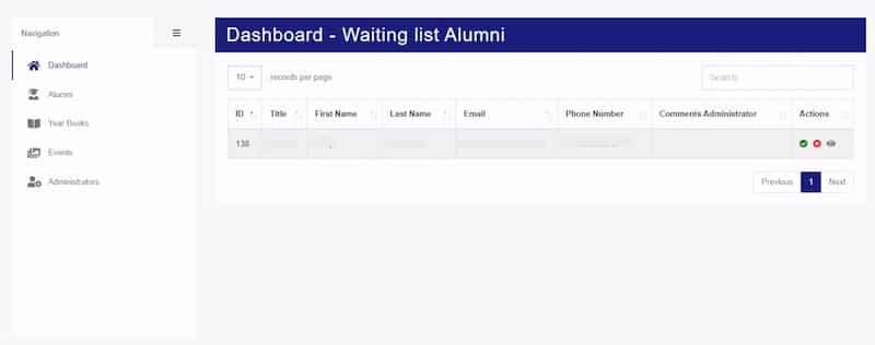 John F. Kennedy extranet alumni dashboard