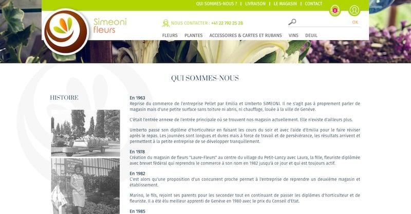 Simeoni Fleurs page Qui sommes nous refonte site e-commerce