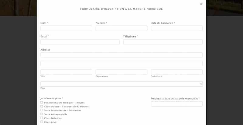 ACorps Parfait formulaire inscription site internet