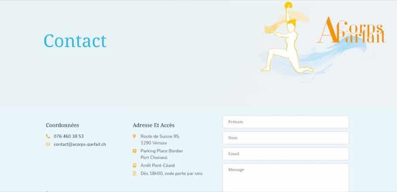 ACorps Parfait page de contact site internet