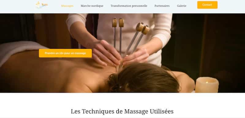 ACorps Parfait page technique de massage site internet