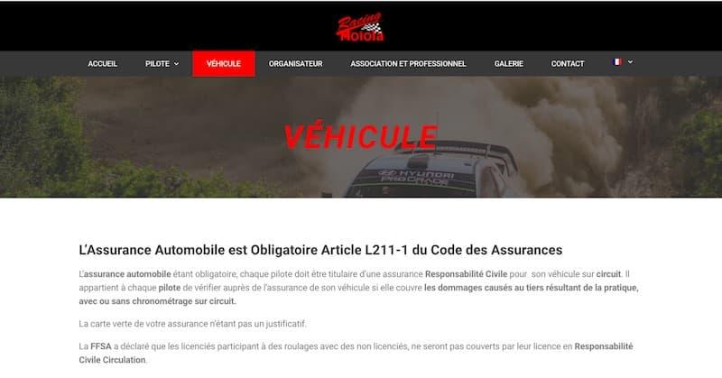 Assurance Circuit page assurance véhicule site vitrine