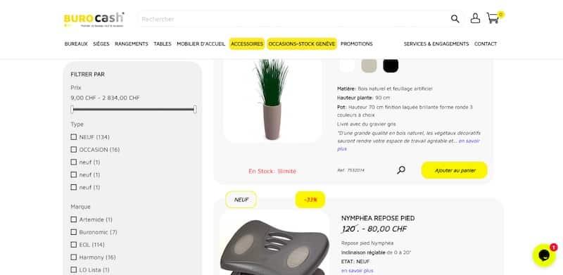 burocash page accessoires avec filtre site ecommerce