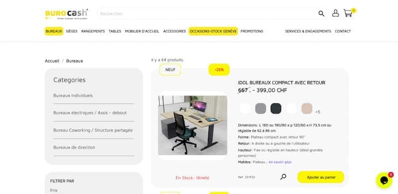 burocash page bureau individuel site ecommerce