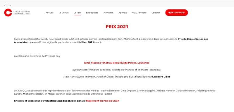 Cercle Suisse des Administratrices page le prix