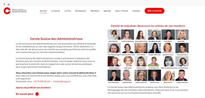 Cercle Suisse des Administratrices page accueil