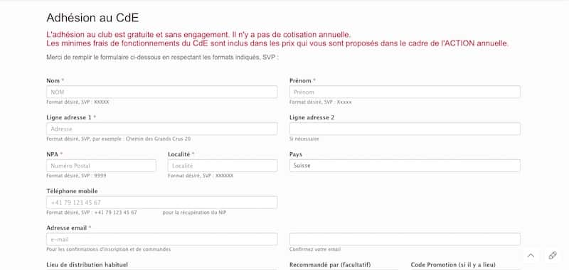 Club de l'économie page d'adhésion au cde site internet