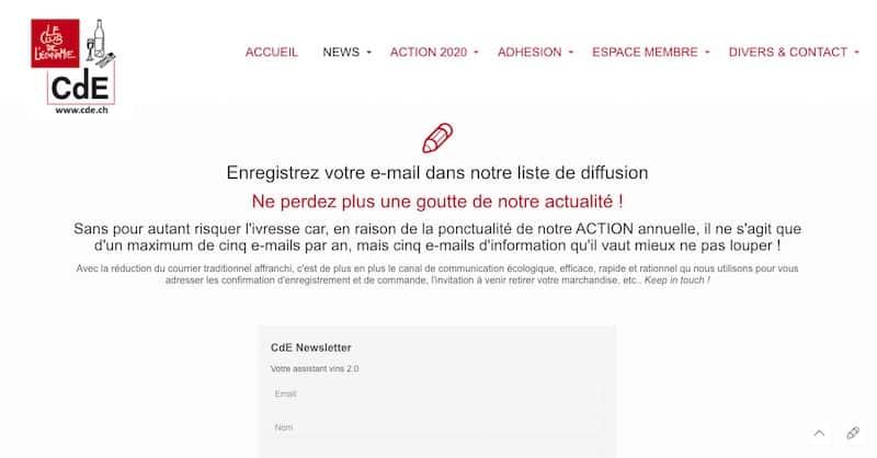 Club de l'économie page d'inscription mailling site internet
