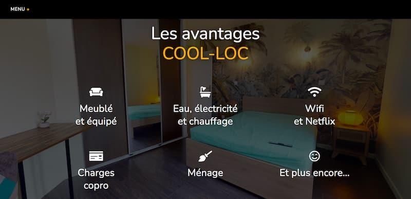 Cool-Loc page avantages site vitrine