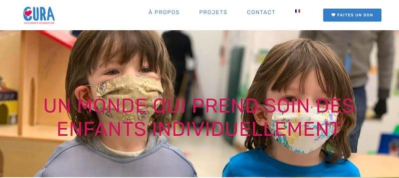Cura Children Foundation page d'accueil site vitrine
