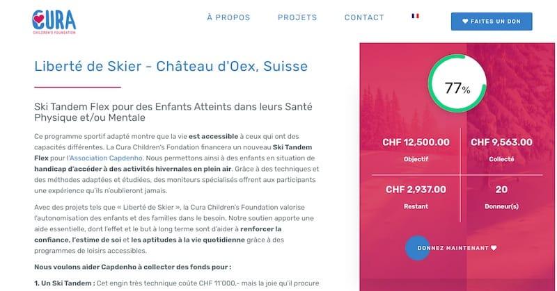 Cura Children Foundation projet liberté de skier site vitrine