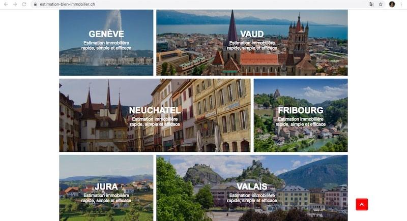 Estimation immobilière Suisse cantons
