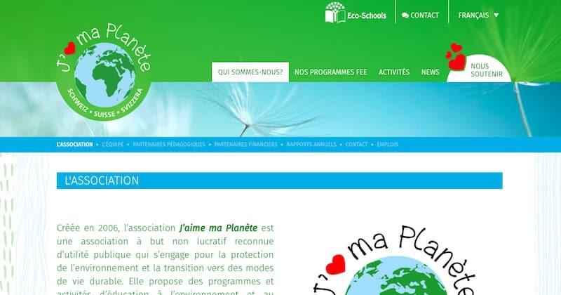 J'aime ma planète Page de l'association site internet vitrine