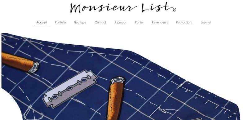 Monsieur List page d'accueil site ecommerce