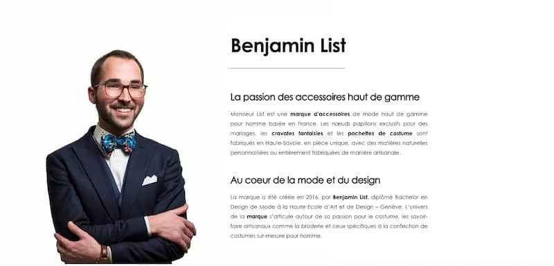 Monsieur List page de présentation de Benjamin List site e-commerce