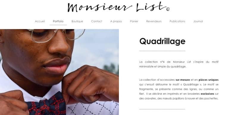 Monsieur List page portfolio site e-commerce