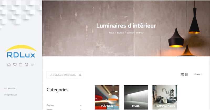 rdlux page luminaires d'intérieur site e-commerce